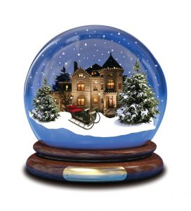 home for christmas snow globe